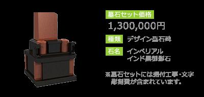 1,300,000円 デザイン型石碑 インぺリアルインド黒御影石